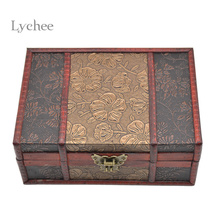 Lychee Water Lily Pattern Retro Chinese Style Storage Case Bins Antique Wood Storage Box