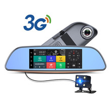 3G Car DVR+Android 5.0 Bluetooth GPS FM Transmitter Dual Lens Rearview Mirror Camera+FHD1080P Camara Automovil WiFi 7inch Touch(China)