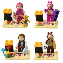 4pcs Cute Masha and the Bear Misha Girls Friends Let it go Building Doll 3D Model Assemble Minifig Action Figure Blocks Kids Toy
