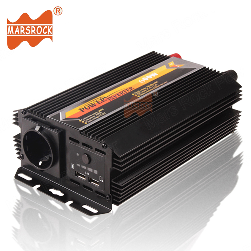 600W 12V 24V DC to 220V AC Modified Sine Wave Off Grid Sloar Power Inverter with 5V 2.4A Dual USB Charger for Car Home Use Power<br>