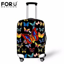 FORUDESIGNS Black Travel Accessories 3D Animal Butterfly Prints Luggage Protective Cover for 18/20/22/24/26/28/30 Inch Suitcase