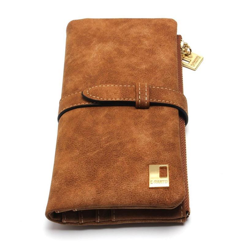 Hot Sale Brand Women Wallet Women Wallets Drawstring Nubuck Leather Zipper Wallet Clutch Bag Womens Long Design Purse Clutches<br><br>Aliexpress