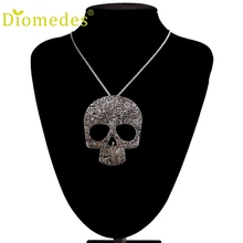 Diomedes Necklace Women Girl Hot Women Vintage Punk Rock Gothic Skull Pendant Long Necklace Accessories Sexy Chain(China)