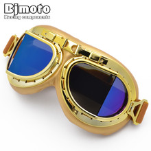 BJMOTO New Universal Vintage Pilot Biker Motorcycle Goggle Glasses for Helmet Open Face Half Motocross Goggles For Harley Ktm(China)
