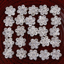 30pcs/Lot 11MM Round Small Crystal Rhinestone Buttons Flower Rhinestone Button Flatback Embellishments For Hair Flower