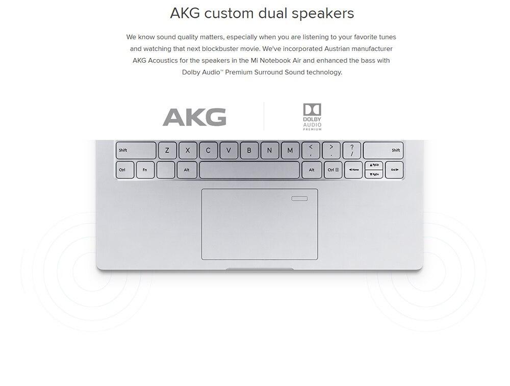 Original Xiaomi Mi Notebook Air 13.3 inch Windows 10 Intel i7 i5 Dual Core 8GB 256GB Fingerprint Sensor Dual WiFi Type-C Chinese