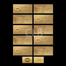 Wholesale Old Japan 10000 Yen Gold  Banknote Plated Paper Money of The Prince Sheng De with Certificate Card for Collection
