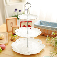 3 or 2 Tier Cake Plate Stand Handle Crown Fitting Metal Birthday Wedding Party Silver/Golden (plates are not included)