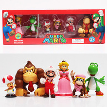 Super Mario Playing Team Band Collection 4-6cm Toys Mario Luigi Donkey Kong Toad Yoshi Peach PVC Figure Toys With Box(China)