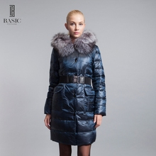 BASIC-EDITIONS 2016 Winter Women Slim With Fox Fur Hood Belt Down Parka Female Women Coat 14w-019 Free Shipping(China)