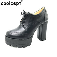 Coolcept Female Retro  Women Shoes Martin Style Spring Autumn Lace Up Heeled Platform Zapatos Mujer Women Shoes Size 34-43