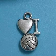 50pcs Fashion Antique Silver I love volleyball Pendant Bracelets Necklace Jewelry Accessories Free Shipping(China)