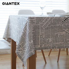 GIANTEX Retro Newspapers Pattern Decorative Table Cloth Cotton Linen Tablecloth Dining Table Cover For Kitchen Home Decor U1001