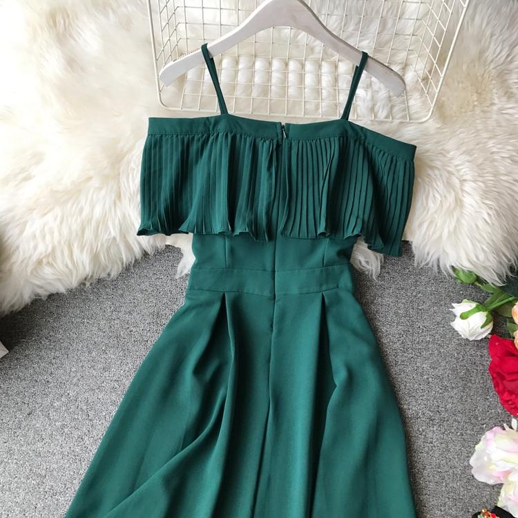 2019 Spring Women Chiffon Pleated Braces Sling Spaghetti Strap Goffer Long Dress Ladies Ruffles Empire Drapped Swing Slip Dress 155