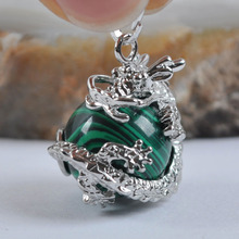 Green Malachite Round Bead GEM Pendant Dragon S554(China)