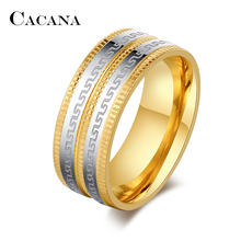 CACANA Stainless Steel Rings For Women Splendid Pattern Surround  Fashion Jewelry Wholesale NO.R83