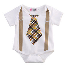 Newborn Infant Baby Boy Clothes Plaid Tie Suspenders Short Sleeve Cotton Romper Outfits