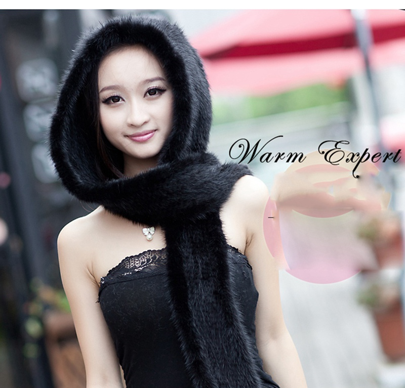 knitted mink fur scarf and hoody with tassels (7)