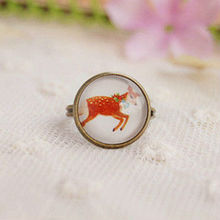 Wholesale Cute Running Reindeer Cameo Ring Vintage Bronze Ring Christmas Decorative Reindeer 12pcs/lot JZ007(China)