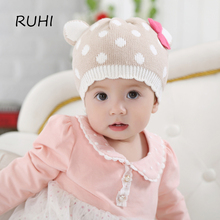 RUHI 2017 Winter Spring Baby Girl Hat Children Girl Kids Beanie Winter Ear Caps For Girls Ripple Girls Hats Hign Quality BMZ40(China)
