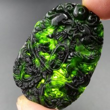 Drop Shipping Chinese jewelry Black Green Nephrite Carved Lucky Dragon Phoenix Pendants + Rope Necklace Fine JadePendant