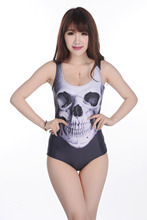 HOT Custom Tankinis Set Sexy Bodysuit Skull Black Swimsuit Printing Digital Backless Swimwear Women Sst-1070(China)