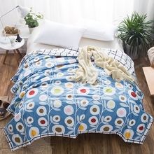 Children'S Adult Home Textiles Printing Satin Blue Duvet Thin Summer Quilts Quilts 100% Cotton Quilts Blankets Lattice