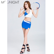 MOONIGHT Cheerleading Uniforms Girl Blue Cheerleading Uniforms Tops+Skirts