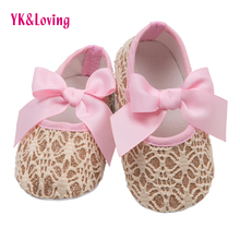 Retail Pink Cute Infant Baby Shoes Lace Embroidered Newborn Cotton Shoes Soft Shinny  Bow Brand Spring Baby Girls First Walker