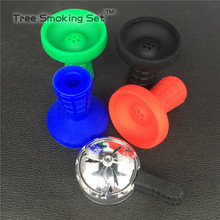 1pc Silicone Bowl 1pc Charcoal Holder As 1 lot Suit For metal Shisha Hookah AMY central double handle + lattice silicone bowl(China)