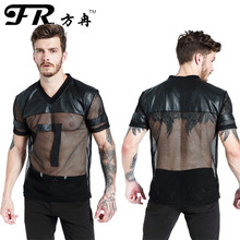 FR Brand Faux Leather T Shirts Male Fashion Undershirts Men Black Breathable Tees Mesh Shirts Patchwork V Collar T Shirts(China)