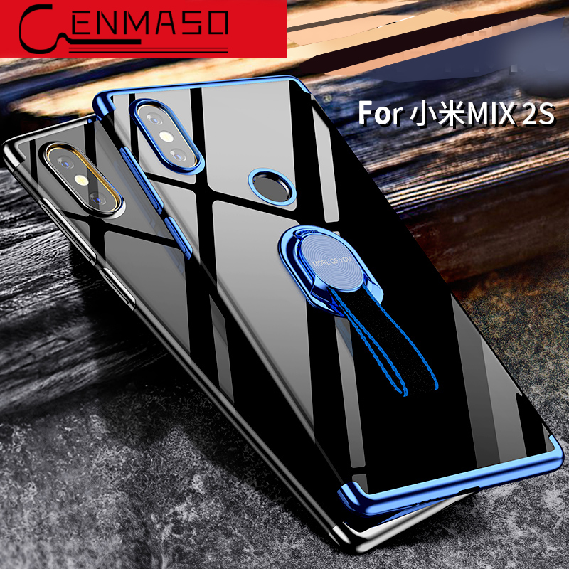 Capa Xiaomi mi mix 2s case soft tpu transparent clear back cover Xiaomi mix 2s plating silicon case + metal finger ring