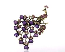 Vintage Peacock Party Brooch Bronze Plated Antique Color Lilac Rhinestone and Resin Crystal Prom Gift Pins