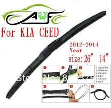 "Free shipping car wiper blade for Kia CEED 2012-2014 Size 26"" 14"" Soft Rubber WindShield Wiper Blade 2pcs/PAIR deflector window"