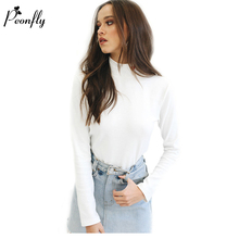 PEONFLY Half Turtleneck T Shirt Women Long Sleeve T-shirt Female Heart Embroidery White Tshirt Women Tops Tee Shirt Femme(China)