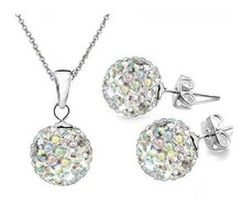best rhinestone!10mm 15pcs/lot Mix color white nvghdfhdchdh Crystal Shamballa Sets Pendant necklace studs Earring