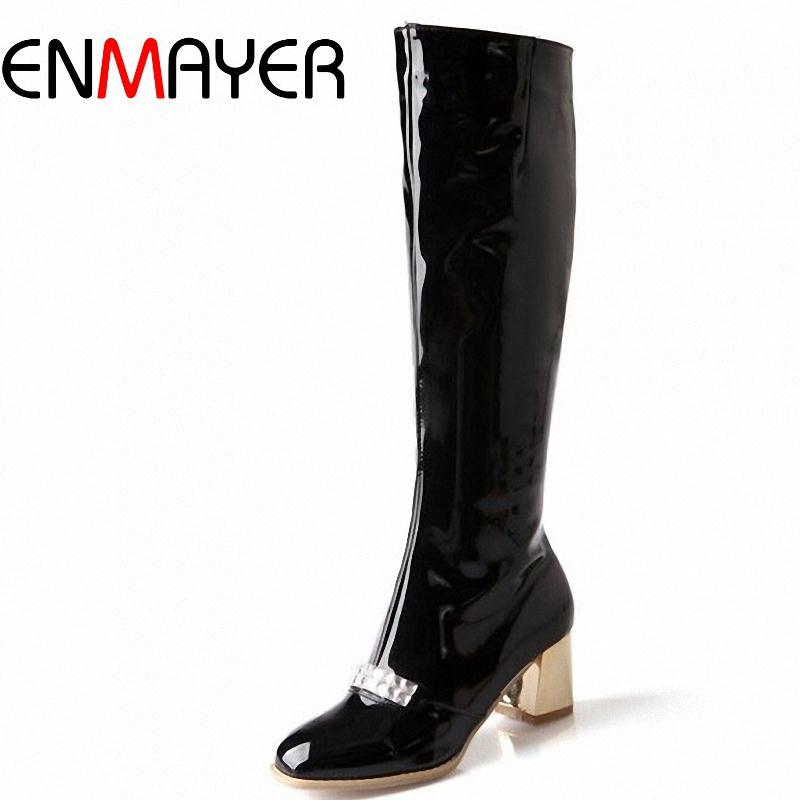 ENMAYER  New Women Knee-High Boots Round Toe Platform Zip High Snow Boots for Women Fashion Winter Wedding Long Boots 34-43<br>