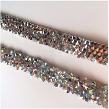 5Yard lot Hotfix Crystal AB sparking Rhinestones Chain Trim Bridal Applique  Strass Crystals Mesh Banding iron on For diy Clothes 59c3486dc745