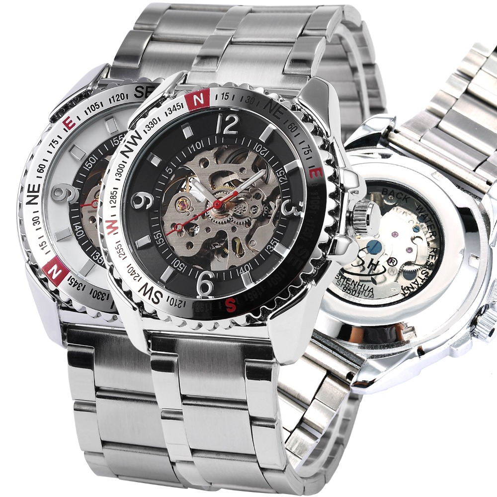 Relogio Automatico Masculino Automatic Mechanical Skeleton Watch Men Silver Automatic Self-wind Mens Mechanical Wrist Watches<br><br>Aliexpress
