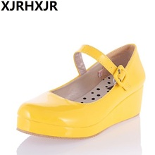 XJRHXJR New Lolita Sweet Lourie Cosplay Single Women Shoes for Lady Wedge Shoes White Beige Yellow Black Large Size 34-43(China)