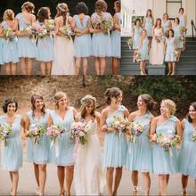 Beach Light Sky Blue Bridesmaid Dresses Mixed Style Vintage Knee Length Bridesmaid Dress Country Style