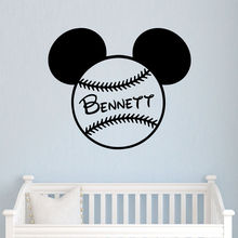 Mickey Mouse Bow Head Ears Wall Sticker Decal Custom Name Vinyl Boy Bedroom Personalized Name Sticker Art Nursery Baseball LA820