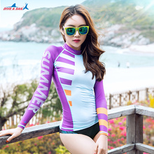 2017 New Summer Beach Swimwear Rash Guard Women Long Sleeve Sun Protection UV UPF 50+ Swimming T Shirt Ladies Wetsuit Rashguards