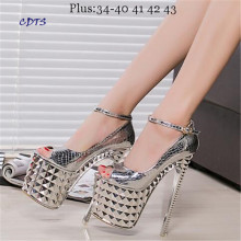 Crossdresser Plus:34-39 Summer Sandals 19/20cm thin high heels Female Shoes Gold/Sliver Platform Women Open Toe party Pumps