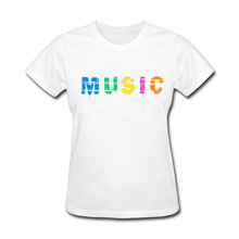 2017 Natural Cotton Music Funny funny t shirt women(China)