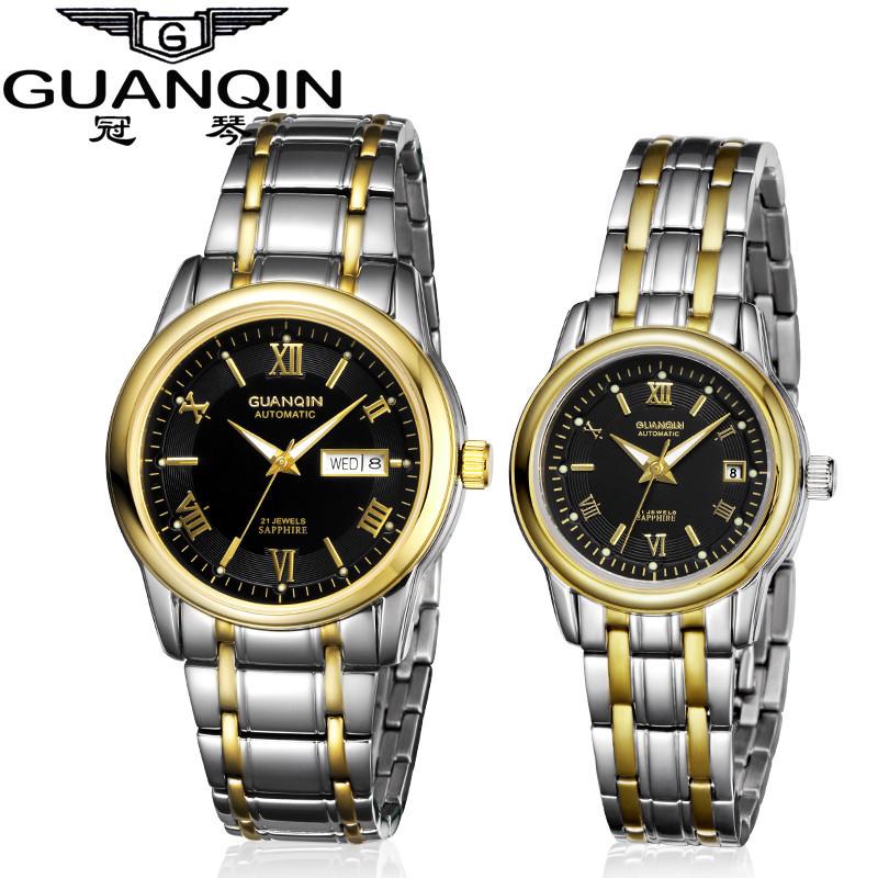 1 Pair GUANQIN Lovers Mechanical Watches Couple Automatic Watch Men Women Clock Auto Date Luminous Waterproof Brand Watch Men (6)