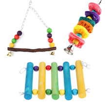 Parrot Toys Parakeet Budgie Cockatiel Cage Hammock Colorful Hanging Swing Ladder Bird Toy(China)