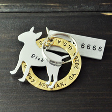 Personalized Pit Bull Terrier Dog Tag, Pet ID Tags, Hand Stamped Engraved Alloy tag, Customized Name & Address, Phone Number