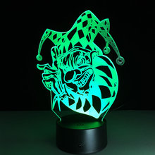 Amazing 7 Color USB 3D Illusion led Table Lamp Night Lights with clown shape Holiday gifts(China)