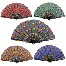 New Party Supplies Spanish Folding Hand Fan Silk Embroidered Sequin Wedding Dance Festival Party Favours Home Decoration Gift(China)